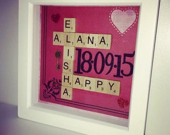 Wedding/Relationship Frame Scrabble Tiles - custom made to order