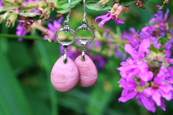 Rhodinite Drop Pendant Earrings, Drops, Pink Earrings, Pink Jewelry, Design, Real Stone Drop Pendant, Healing Stones, Gift Mother, Gift Wife
