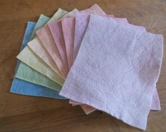 Plant-dyed felt bundle of 9/Pastels