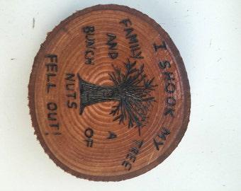 Woodburned tree slab