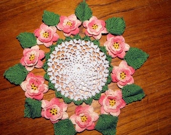 Rose Pattern Crocheted Doilies