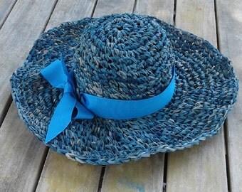 Sun hat, women's beach hat, raffia sun hat, hand made fashion hat, hand made hat, crochet hat, blue hat