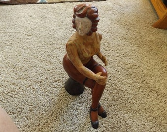 Primitive Carved Statue of a Woman.
