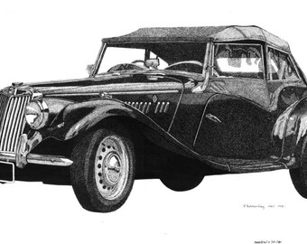 Pen & Ink Drawing, A4 - 1953 MG TF