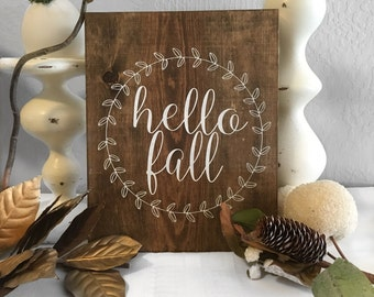 Hello Fall Sign - Fall Sign - Home Decor - Wood Sign