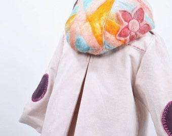 Jacket with wool applications, bright pink jacket, hooded jacket