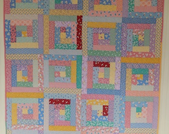 Log Cabin in 1930's Quilt