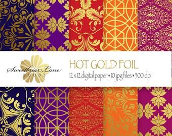 Gold Foil Digital Scrapbook Paper instant digital download