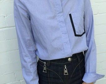 Blue Oxford Collared Shirt (Small)