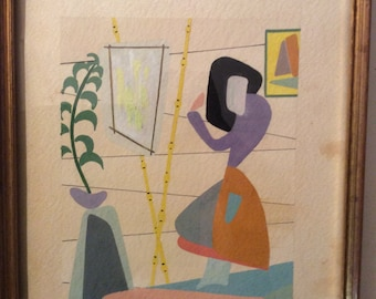 Vintage 1950s Abstract Painting
