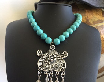 Feather and Flower Charm Turquoise Necklace