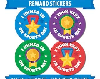 Sports Day Taking Part Reward Stickers (144 30mm dia) Fun School Sports Awards