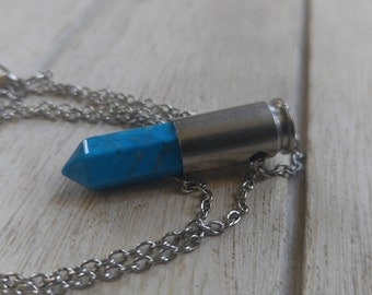 SALE Bullet necklace brass jewelry Turquoise natural gemstone Swarovski crystal 9mm