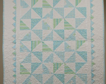 Patchwork Baby Boy Quilt Blue and White Modern Baby Quilt Toddler Quilt