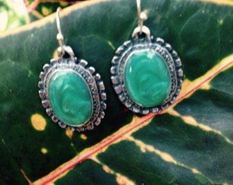 Green Stone Vintage Dangle Earrings