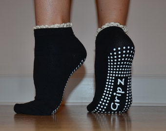 Crochet Ruffle Black Sticky Non-Slip Socks (GRIPZ) - Buy 2, Get 1 FREE!