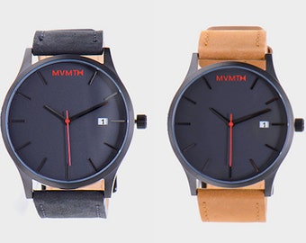 MVMT Watches Black Face with Brown/Black Nubuck Leather
