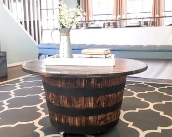 Whiskey Barrel Table   With Casters