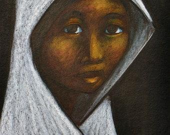 Arturo Nieto Pastel Painting Girl In white Head Scarf