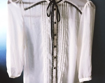 Victorian Style Sheer Button Up