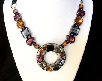 Gemstone Ribbon Tie Necklace