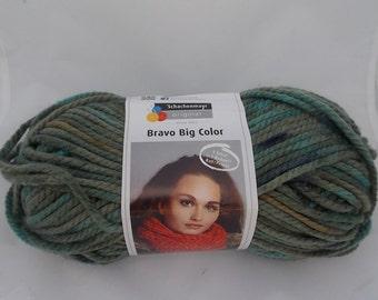 Green multicolor yarn, khaki, knitting yarn, crochet yarn, Schachenmayr Bravo Big Color, super bulky yarn, cheap yarn, yarn lot, roving yarn