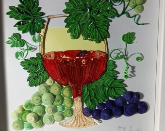 Grapes and wine quilling