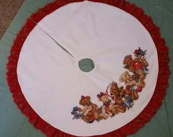 Cross stitched Christmas tree skirt
