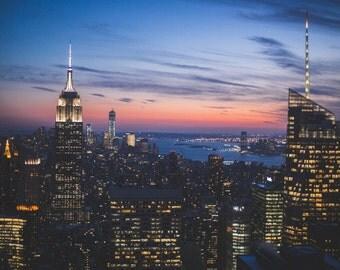 New York City Sunset - Metallic Paper Print