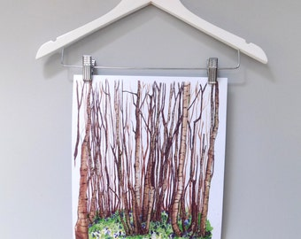 Watercolour Woodland Print A3