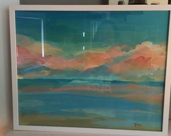 Abstract Coast in white Frame