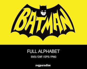 Batman Alphabet Svg, Batman Cuttable Svg, Svg, Eps, Dxf, Studio3 use with Cricut & Silhouette