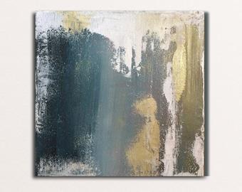 Original painting, handmade, abstract, golden paint, acrylic 20x20 cm, Hungarian artist