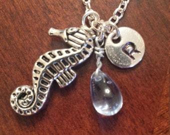 Birthstone March aquamarine seahorse charm necklace personalized initial tag