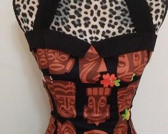 Tiki Pinup/ Rockabella Sailor Collar Halter Top Sz. S, M, L, XL