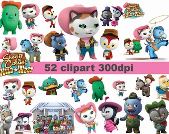 INSTANT DL- 52x Sheriff Callie's Wild West clipart -   printable Digital Clipart Graphic Instant Download