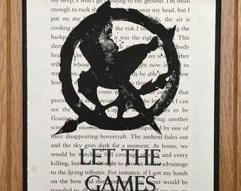 Hunger Games Inspired Wall Hanging Plaque, Book Page Lino Print Picture, Sign, Merchandise, Birthday, Gift, Housewarming, New Home