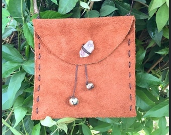 Suede Crystal Pouch