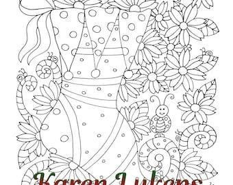 Christmas - Whimsical Stocking, 1 Adult Coloring Book Page, Snowman, Christmas, Karen Lukens