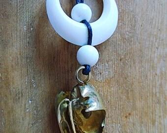 brass owl skull necklace