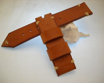 Handmade Vintage Leather Watch Strap Leather tanned in Italy-Ansa 22-22