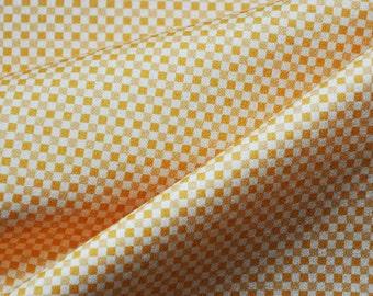 Fabric Cotton satin - chequered Mondrian mustard