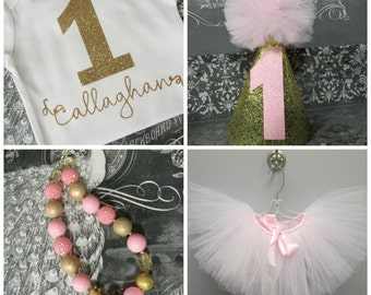 First Birthday Outfit, 1st Birthday Outfit, Gold Pink Girls Outfit, Baby Girl Birthday Outfit, Cake Smash Outfit