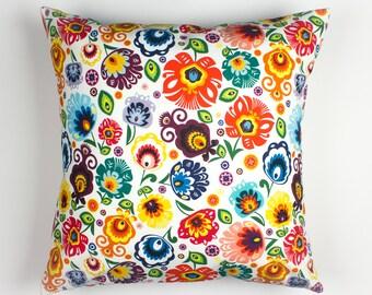 Outdoor pillows, Slavic, Rainbow pillow, Folk pillow, Flower pillow cover, Folk art pillow, Polish folk art, Pillow cover 16x16
