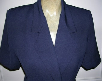 Vintage 1990's Navy blue satin lined crushless polymix business skirt suit by DIO (made in australia) size: 10