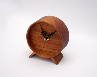 Wood Clock - Solid cherry with black clock hands