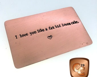 Copper Wallet Insert Card, Boyfriend Gift, 8th Anniversary Gift, Husband Gift, Personalized, 50 cent, 7th Anniversary