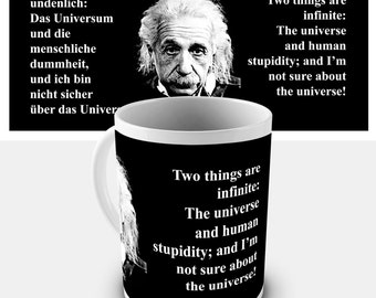 Einstein Quote The Universe And Human Stupidity Ceramic Mug