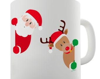 Santa & Rudolph Peekaboo Ceramic Novelty Mug