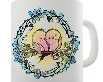 Love Birds Perched On A Branch Ceramic Mug